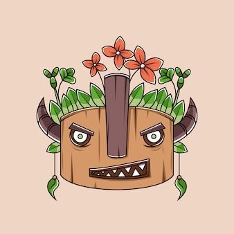 Personagem de desenho animado de máscara de tiki