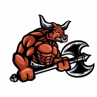 Personagem de desenho animado de mascote de búfalo