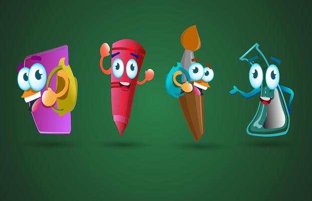 Personagem de desenho animado de material escolar engraçado de volta às aulas