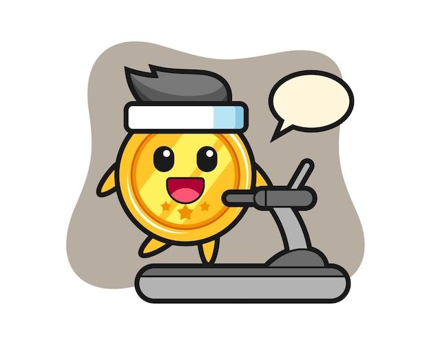 Personagem de desenho animado de medalha caminhando na esteira