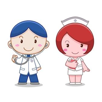 Personagem de desenho animado de médico e enfermeiro.