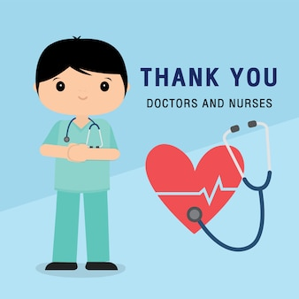 Personagem de desenho animado de médico. obrigado médicos e enfermeiros que trabalham no hospital e combatem o coronavírus, ilustração da covid-19 wuhan virus disease.