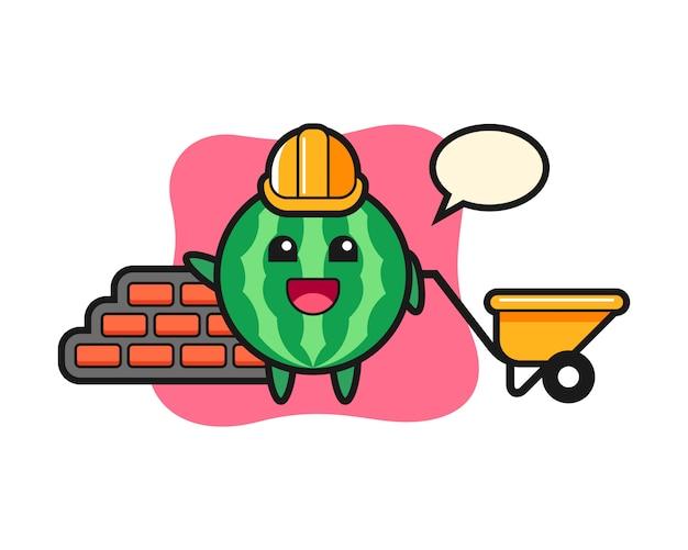 Personagem de desenho animado de melancia como construtor