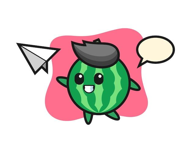 Personagem de desenho animado de melancia jogando avião de papel