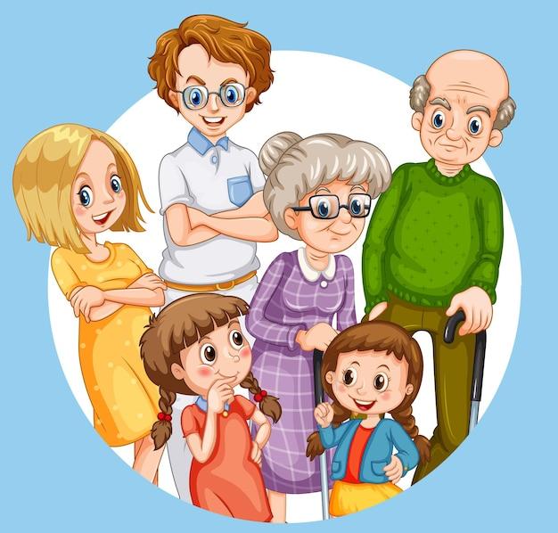 Personagem de desenho animado de membro da família