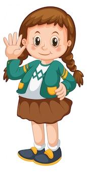 Personagem de desenho animado de menina com cabelo trançado