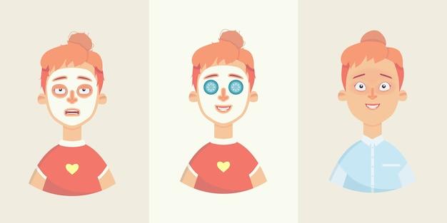 Personagem de desenho animado de menina sonolenta ou pronta para trabalhar