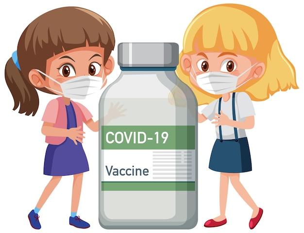 Personagem de desenho animado de meninas usando máscara em pé com o frasco da vacina covid-19