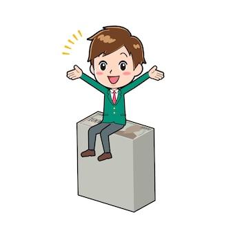 Personagem de desenho animado de menino bonito com um gesto de sente-se no dinheiro.