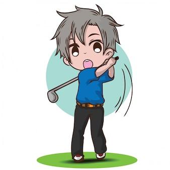Personagem de desenho animado de menino bonito golfe
