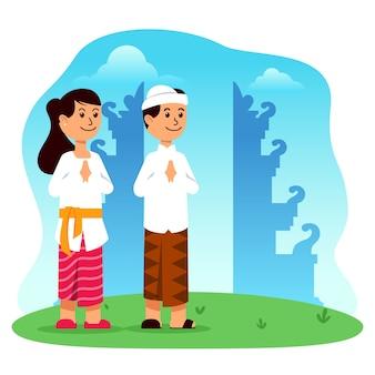 Personagem de desenho animado de menino e menina hindu em frente ao portão do templo
