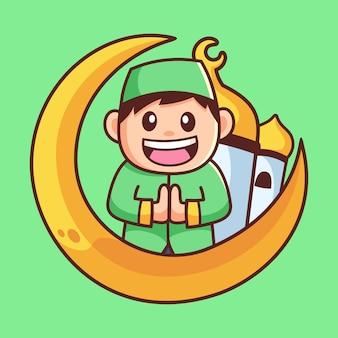 Personagem de desenho animado de menino muçulmano feliz