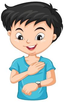Personagem de desenho animado de menino olhando para um relógio de pulso