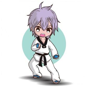 Personagem de desenho animado de menino takwando bonito.