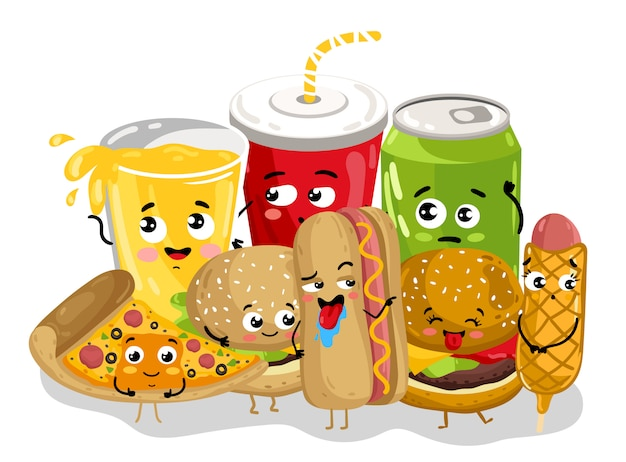Personagem de desenho animado de menu engraçado fast-food