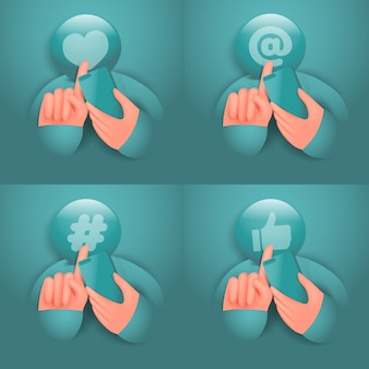 Personagem de desenho animado de mídia social segurando o smartphone e o conjunto de ícones de tela de toque