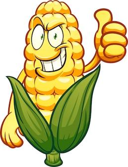 Personagem de desenho animado de milho com ilustração de polegar para cima