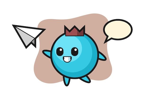 Personagem de desenho animado de mirtilo jogando avião de papel