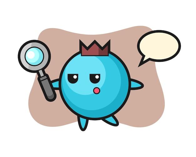 Personagem de desenho animado de mirtilo pesquisando com uma lupa