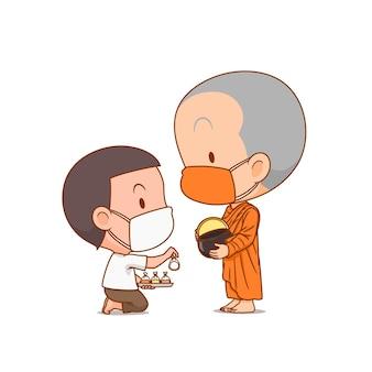 Personagem de desenho animado de monges budistas recebe comida de um menino, ambos usando máscara