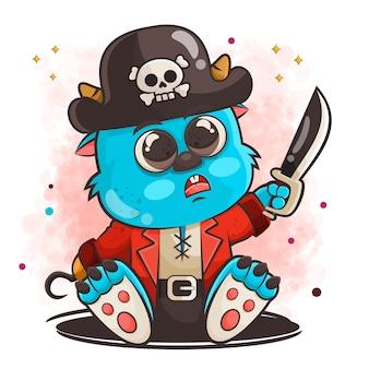 Personagem de desenho animado de monstro fofo posando em ilustração de roupas de pirata