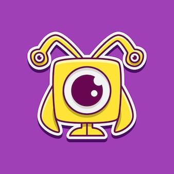 Personagem de desenho animado de monstro fofo