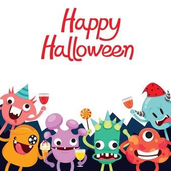 Personagem de desenho animado de monstros na festa de halloween