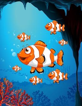Personagem de desenho animado de muitos peixes exóticos na cena subaquática com corais