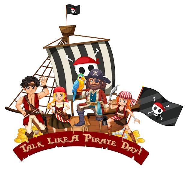 Personagem de desenho animado de muitos piratas no navio falando como uma fonte do dia do pirata