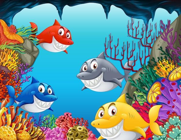 Personagem de desenho animado de muitos tubarões na ilustração subaquática