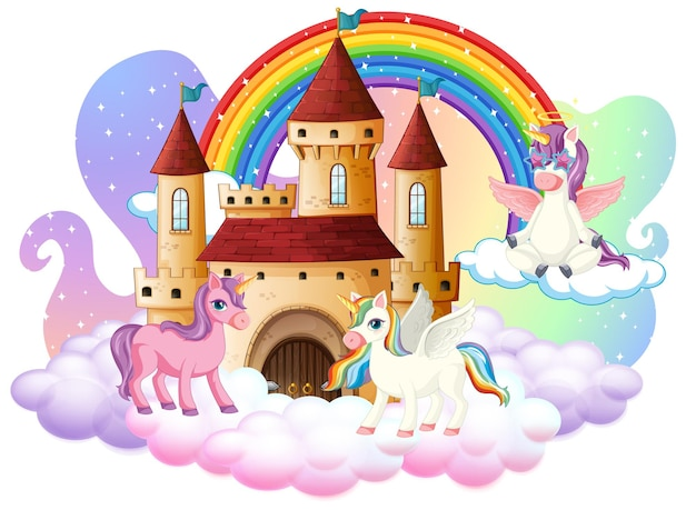 Personagem de desenho animado de muitos unicórnios fofos com castelo na nuvem