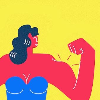 Personagem de desenho animado de mulher bonita forte