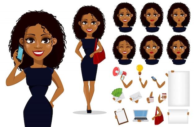 Personagem de desenho animado de mulher de negócios americano africano