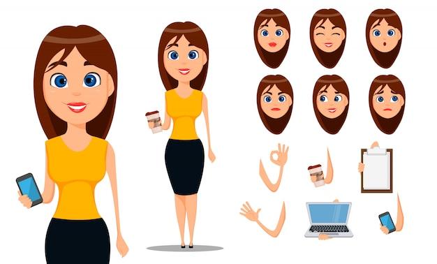 Personagem de desenho animado de mulher de negócios