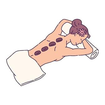 Personagem de desenho animado de mulher em procedimento relaxante de massagem com pedras em salão de beleza spa