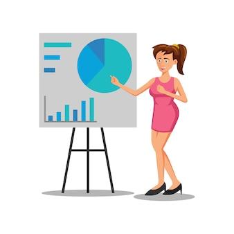 Personagem de desenho animado de mulher está apresentando a apresentação