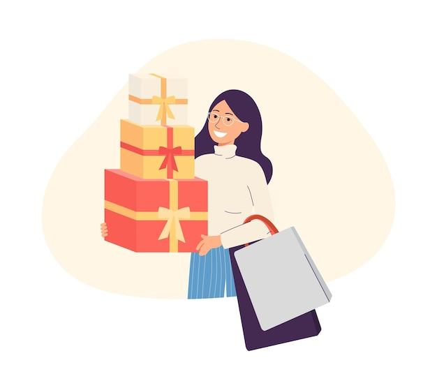 Personagem de desenho animado de mulher feliz e sorridente com uma pilha de caixas de compras nas mãos