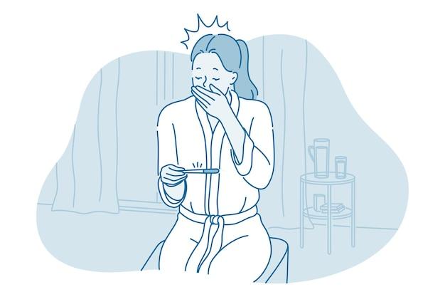 Personagem de desenho animado de mulher sentada com teste de gravidez