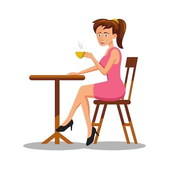 Personagem de desenho animado de mulher tomando café