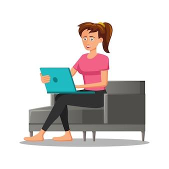 Personagem de desenho animado de mulher usando laptop