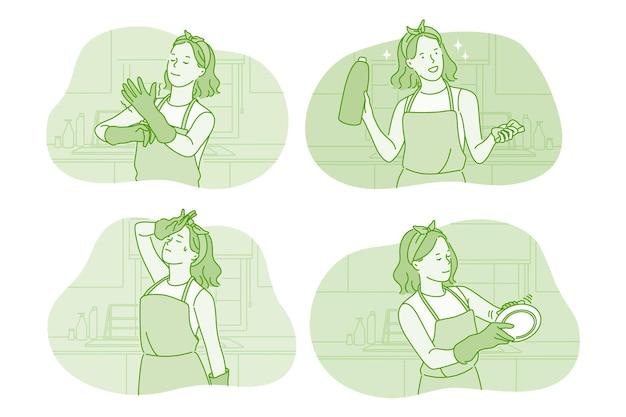 Personagem de desenho animado de mulher usando luvas lavando pratos na cozinha