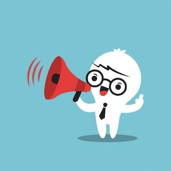 Personagem de desenho animado de negócio com megafone