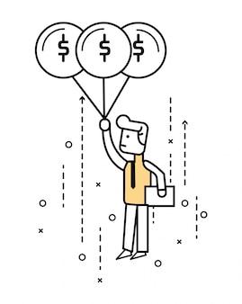Personagem de desenho animado de negócios voando no céu com balão