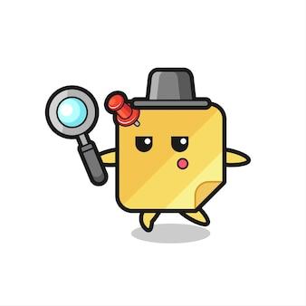 Personagem de desenho animado de nota adesiva procurando com uma lupa, design de estilo fofo para camiseta, adesivo, elemento de logotipo