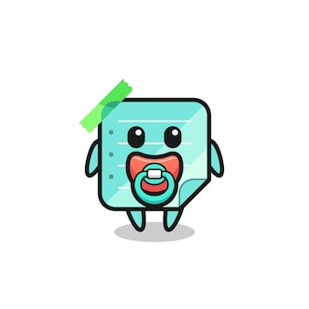 Personagem de desenho animado de notas adesivas de azul bebê com chupeta, design de estilo fofo para camiseta, adesivo, elemento de logotipo