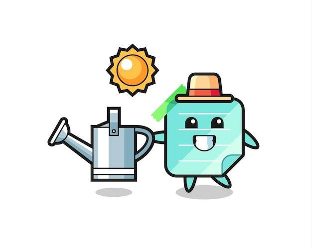 Personagem de desenho animado de notas adesivas segurando um regador, design de estilo fofo para camiseta, adesivo, elemento de logotipo