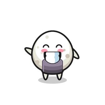 Personagem de desenho animado de onigiri fazendo um gesto com a mão em forma de onda, design de estilo fofo para camiseta, adesivo, elemento de logotipo