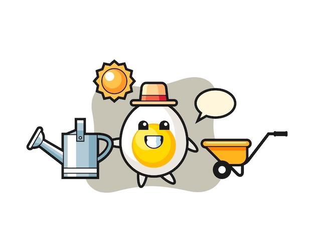 Personagem de desenho animado de ovo cozido, segurando o regador
