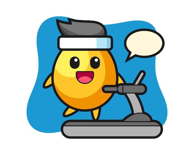 Personagem de desenho animado de ovo de ouro andando na esteira, design de estilo bonito