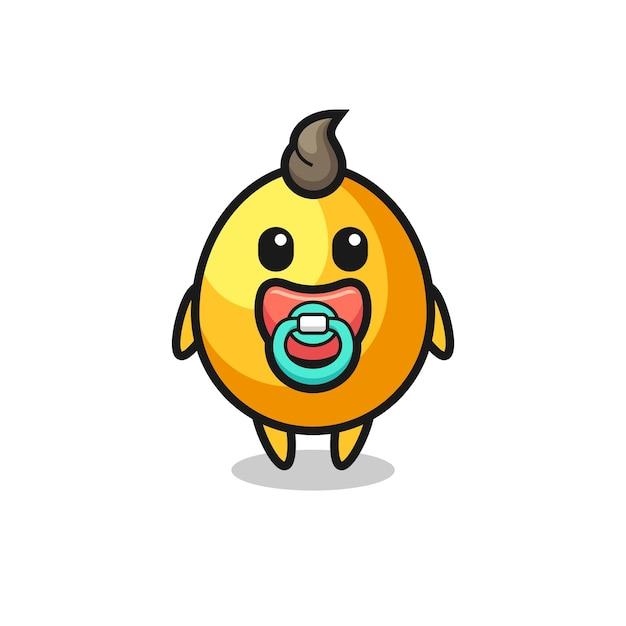 Personagem de desenho animado de ovo dourado de bebê com chupeta, design de estilo fofo para camiseta, adesivo, elemento de logotipo